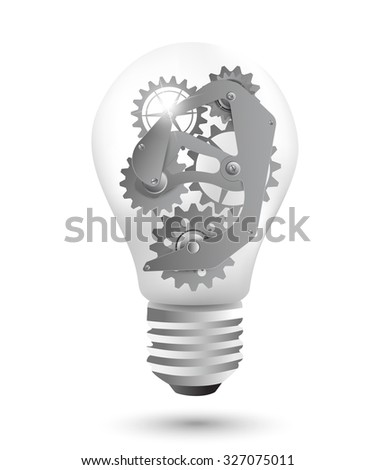 Steel gears as a design element in a light bulb - stock vector