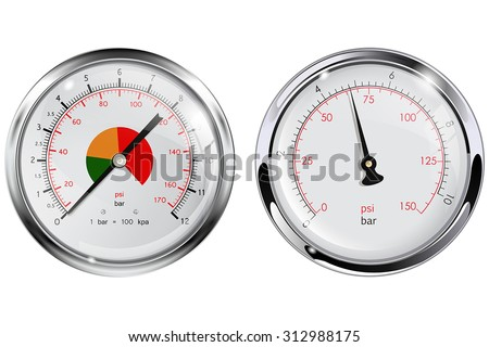 Steel Manometer for water pipes. Chrome frame. Vector isolated on white. - stock vector