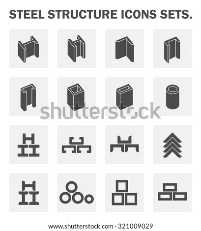 Steel pipe and steel beam and construction material vector icon sets. - stock vector