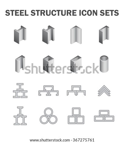 Steel pipe and steel beam and construction material vector icon sets.