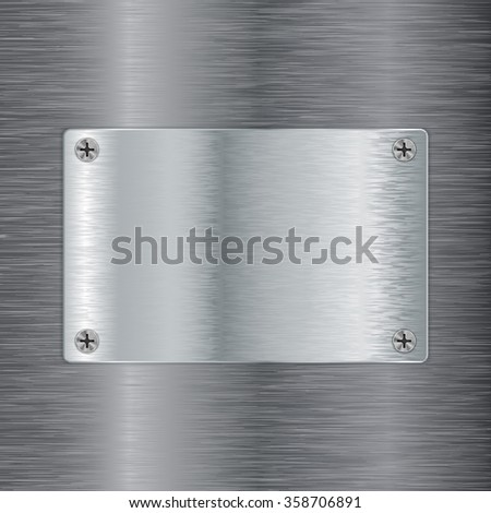 Steel plate with screw head on Metal brushed background. Vector illustration