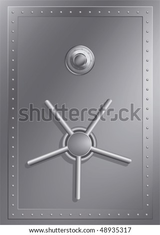 Steel safe with combination lock - stock vector