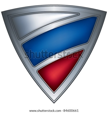 Steel shield with flag RUSSIA - stock vector