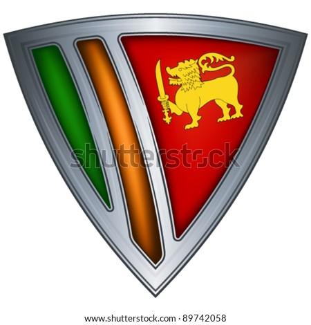 Steel shield with flag Sri Lanka - stock vector