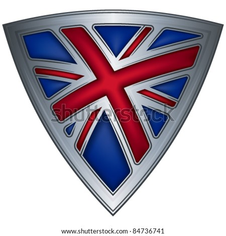Steel shield with flag UK - stock vector