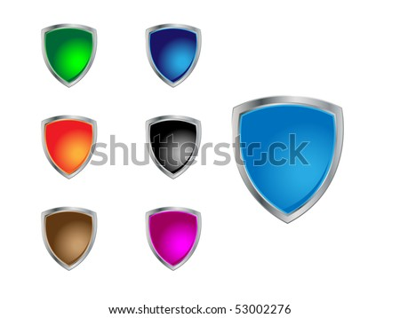 Steel shields in different  colors - stock vector