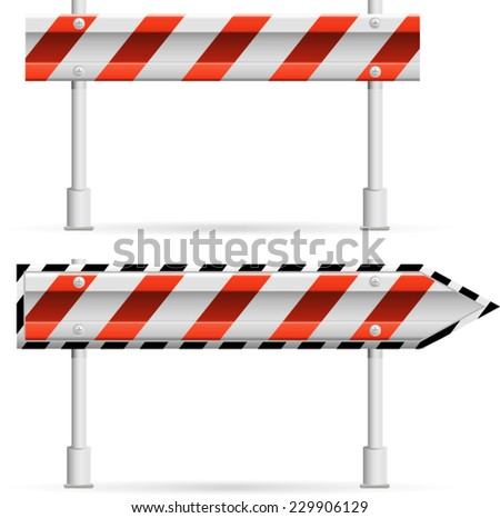 steel sign of a road protection with red strips - stock vector