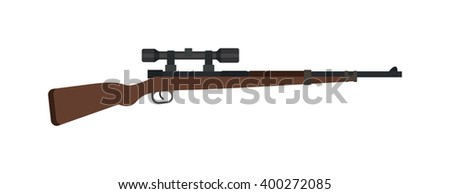 Steel sniper rifle and war sniper gun. Sniper rifle crime gun machine, special fire gun. Vector heavy assault large arms carbine sniper rifle futuristic weapon with grenade launcher military gun.  - stock vector