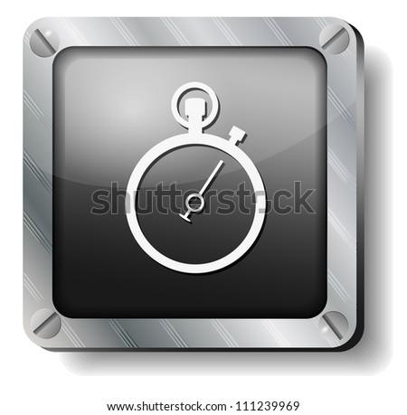 steel stopwatch icon - stock vector