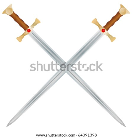 Steel swords on a white background.  Vector Illustration - stock vector