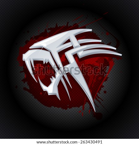 Steel tiger head against drop of blood art logo template. - stock vector
