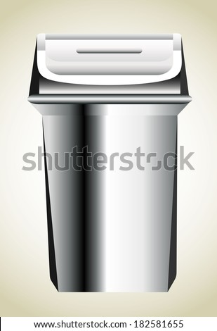 Steel trash can - stock vector