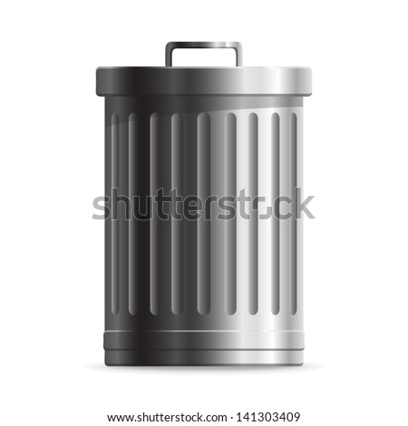 Steel Trash can or dustbin - icon isolated on white background. Vector