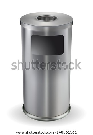 Steel trash can. Vector EPS-10 - stock vector