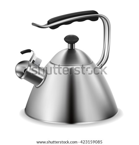 Steel whistling kettle - stock vector