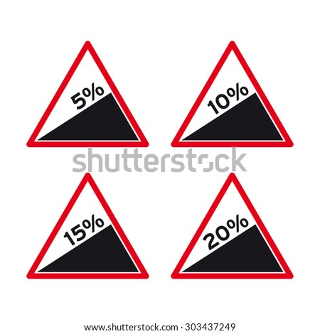Steep road sign vector set