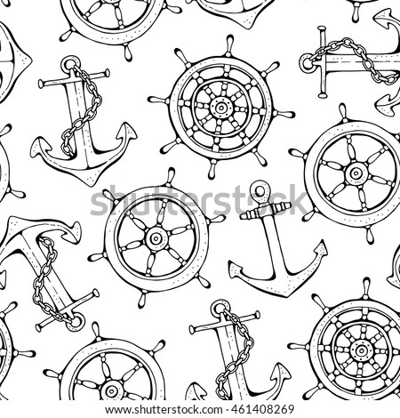 Steering ship wheel and anchor background, vector seamless pattern on white background