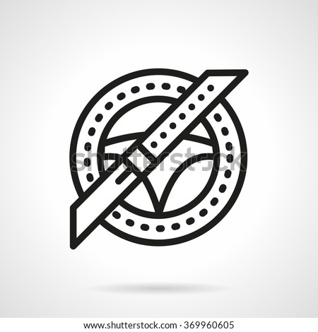 Steering wheel and seat belt. Driver safety, safe driving. Car insurance concept. Vector icon simple black line style. Single design element for website, business. - stock vector