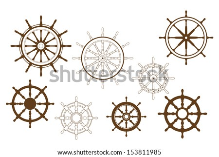 Steering wheels set for heraldry or marine design or idea of logo. Jpeg version also available in gallery - stock vector
