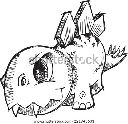 Stegosaurus Dinosaur Sketch Vector Illustration Art - stock vector