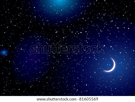 Stella space landscape with distant stars and cresent moon - stock vector