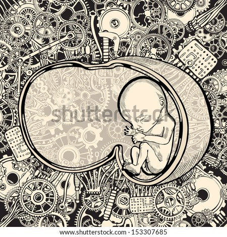 Stem cell research and  the Germinal choice technology. - stock vector
