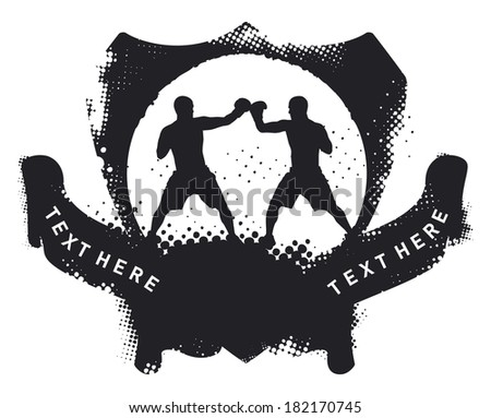 stencil boxing shield - stock vector