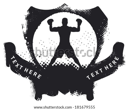 stencil boxing shield with champion fighter - stock vector
