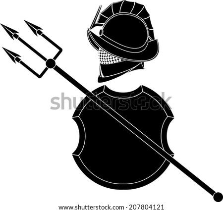 stencil of gladiators helmet wit trident and shield. vector illustration - stock vector