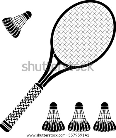 stencil of racket and badminton shuttlecocks