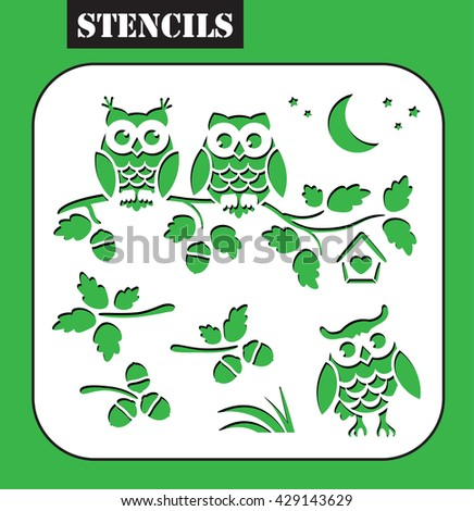 Stencil. Owls sitting on the oak branch. Set oak branches with leaves and acorns. My be used for laser cutting or die cutting machines. - stock vector