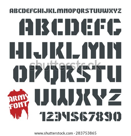 Stencil-plate sanserif font and numeral in military style. Black font on white background - stock vector