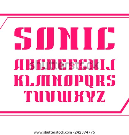 Stencil-plate serif font bold geometric constructed. Pink font on a white background - stock vector