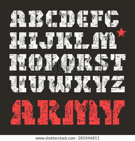 Stencil-plate serif font in military style with shabby texture. White font on black background - stock vector