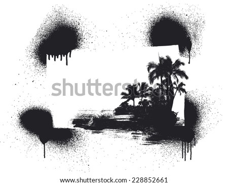 stencil summer background with palms - stock vector
