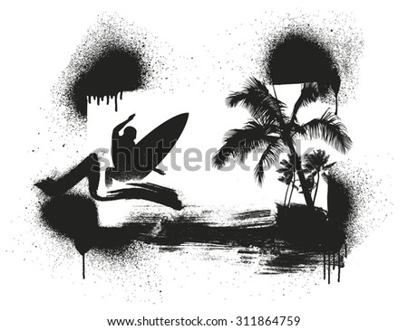 stencil surf and summer scene with palms and surfer - stock vector