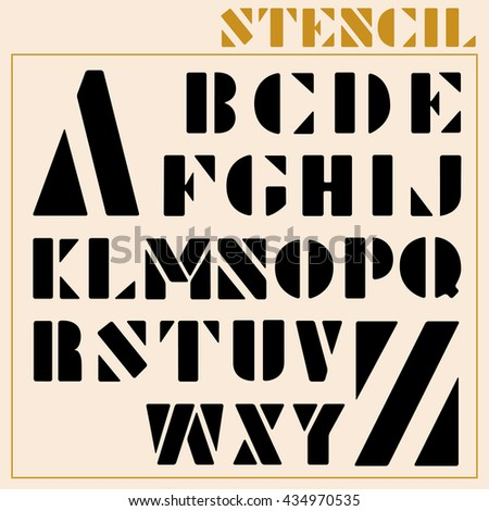 Stencil Vector Font - stock vector