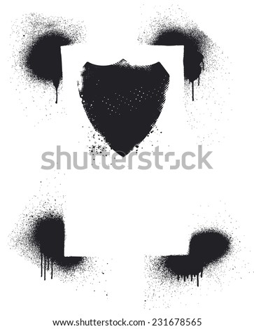 stencil vintage frame with grunge shield - stock vector