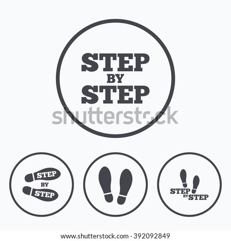 Step by step icons. Footprint shoes symbols. Instruction guide concept. Icons in circles. - stock vector