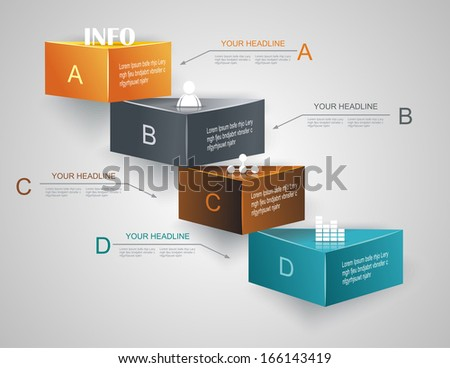 Step by step infographics illustration. levels of your data - stock vector