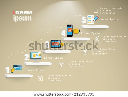 Step by step infographics illustration with icons - stock vector