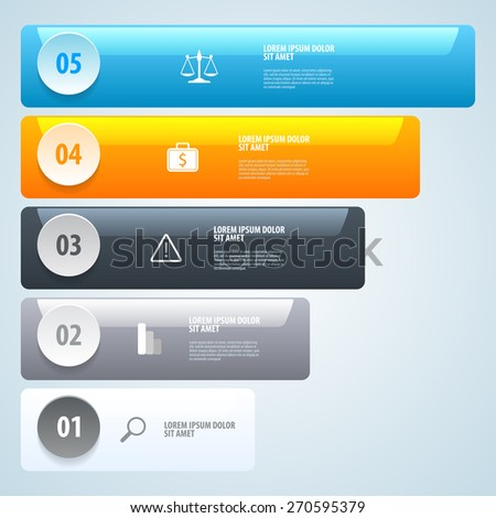 Step by Step Infographics. List of options. Vector eps 10. - stock vector
