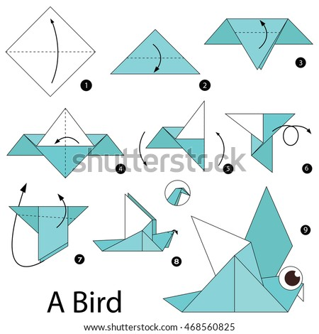 Origami instructions stock images royalty free images for How to make origami goose