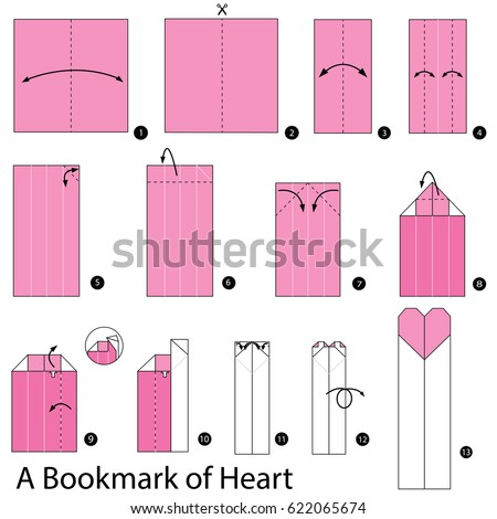 Step By Instructions How To Make Origami A Bookmark Of Heart