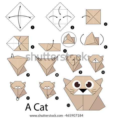 Step By Instructions How To Make Origami A Cat
