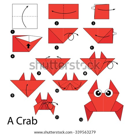 step by step instructions how to make origami A Crab. - stock vector