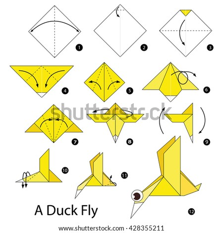 Step By Instructions How To Make Origami A Duck Fly