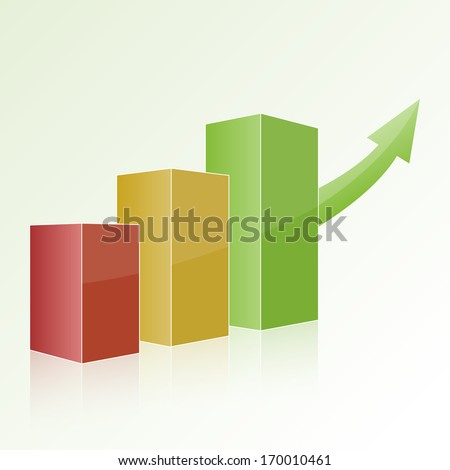 Step by step multi-colored chart with positive growth and green arrow. Volumetric isolated figure, template for design, web, reports, and presentations.