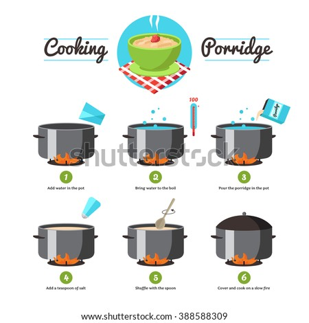 Step by step set icons instruction for the preparation of cooking porridge vector illustration - stock vector