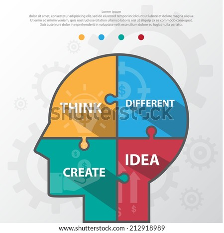 Step design of four part human idea infographic element.Vector/EPS10